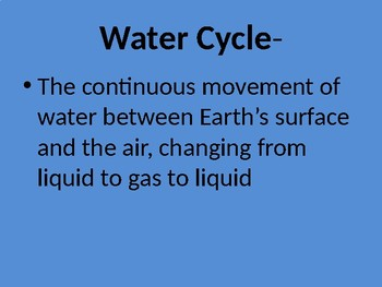Water Cycle Vocabulary Powerpoint