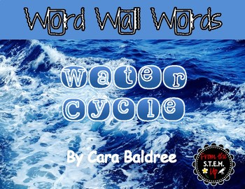 Water Cycle Word Wall Vocabulary Words with Pictures & Activities