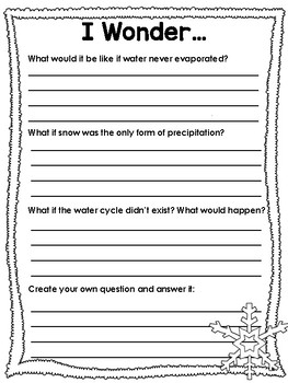 Water Cycle Writing Worksheets