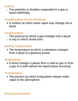 Water Cycle and Climates Unit Vocabulary Lesson Plan
