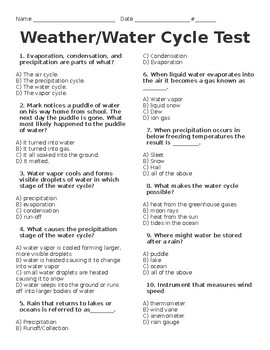 Water Cycle and Weather Test