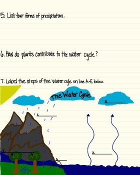 Water Cycle Poster, Student Handout & Quiz (for 3rd, 4th, & 5th graders)