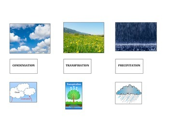 Water Cycle in Color by Image and Simple Depiction (Part of Larger Version)