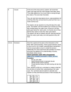 Water Cycle lesson plans worksheet and extensions activities