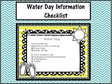 Water Day Information Checklist