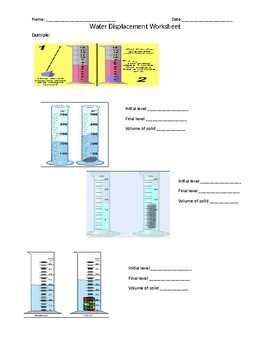 Water Displacement Worksheet 2 by Kelly Markowinski   TpT