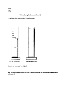 Water Displacement Worksheet Water Displacement Worksheet