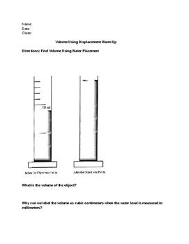 Water Displacement Worksheet