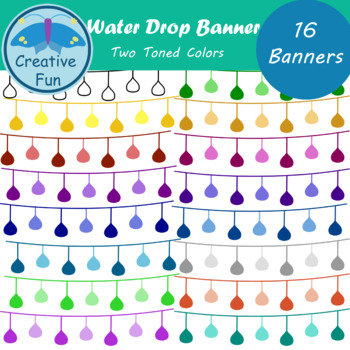 Water Drop Banner Clipart: Two Toned