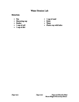 Water Erosion Lab Instructions