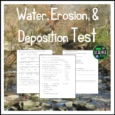 Water, Erosion, and Deposition Editable Test and Key