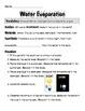 Water Evaporation Experiment:  Sun or Dark? Scientific Method Inquiry