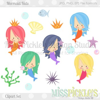 Mermaid Kids- Commercial Use Clipart Set