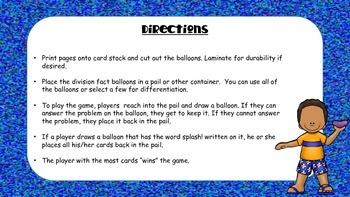 Math Facts Review Game - Division- Water Fight
