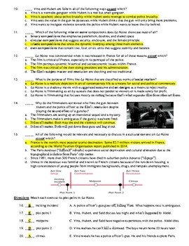 La Haine Film (1995) 20-Question Matching and Multiple Choice Quiz
