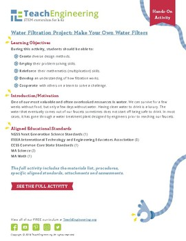 Water Filtration Project: Make Your Own Water Filters