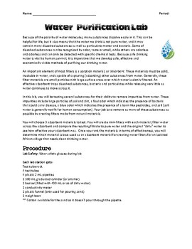 Water Filtration STEM Lab