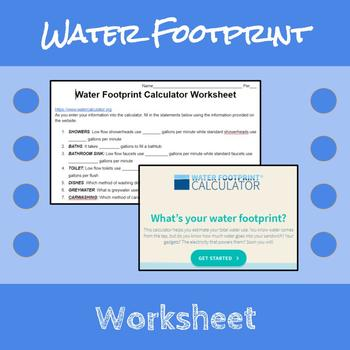 Water Footprint Calculator Apes By Erin Frankson Tpt Water footprint calculator worksheet