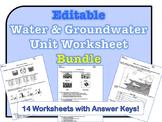 Water & Groundwater Worksheet Bundle *EDITABLE*