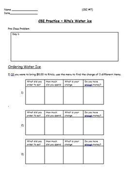 Real World Math (ACTIVE BOARD) - Water Ice CBI; Life Skills Math