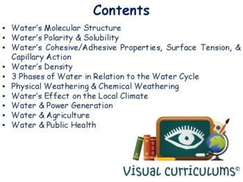 Water Lesson and Flashcards - task cards, study guide, state exam prep