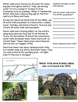 Water Mills and their Influence on Geography