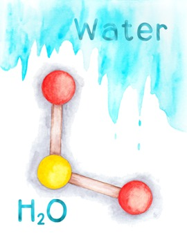 Water Molecule Poster Chemistry Molecular Structure H2O PDF Printable