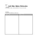 Water Molecules - Exit Slip *NGSS*