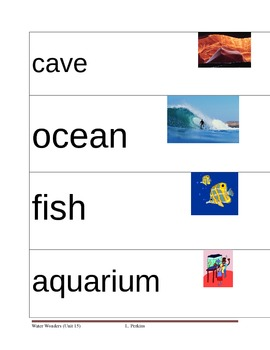 Water, Ocean, and Fish Picture Vocabulary Cards