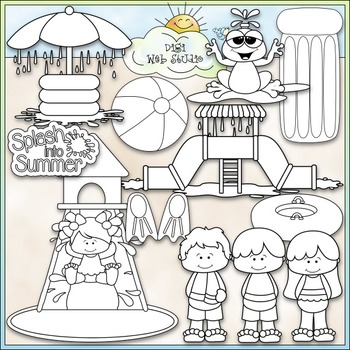 Water Park Fun - CU Clip Art & B&W Set