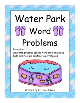 Water Park Word Problems and Play Dough Ten Frames