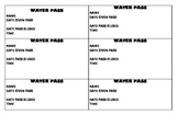 Water Pass Printable Template