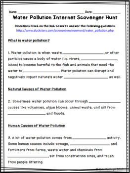Water Pollution Internet Scavenger Hunt WebQuest Activity