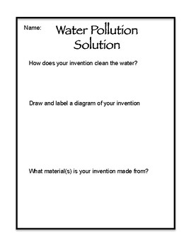 Water Pollution Lesson, Handout and Culminating Task with student organizer