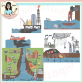 Water Pollution Sources Clip Art Surface, Ground Water, Dumping, Oil Spills
