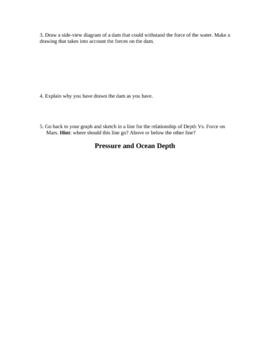Water Pressure Dam Worksheet (graphing)