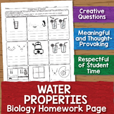 Water Properties Biology Homework Worksheet