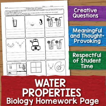Water Properties Biology Homework Worksheet