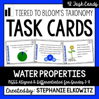 Water Properties Task Cards (Differentiated and Tiered)