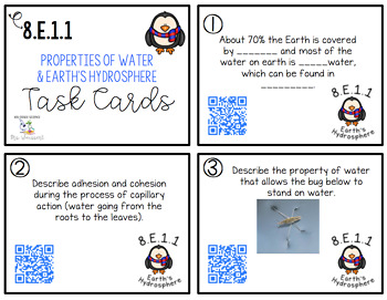 Water Properties and Hydrosphere Task Cards