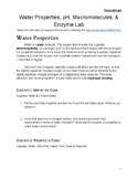 Water Properties, pH, Macromolecules, and Enzyme Lab