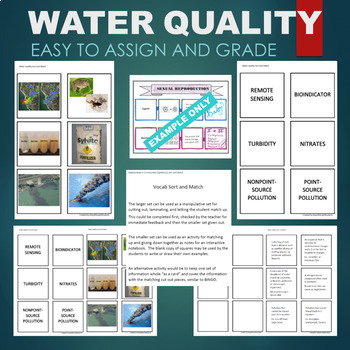 Water Quality -Turbidity, Nitrate, Pollution, Bioindicator Sort & Match Activity
