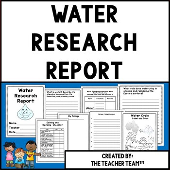Water Cycle Research Report For Upper Elementary and Middle School Grades