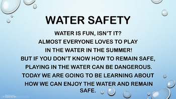 Water Safety Lesson w 5 video links & quiz Personal Safety Swimming