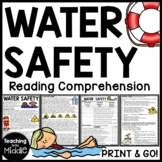 Water Safety Reading Comprehension Worksheet Summer Beach Pool
