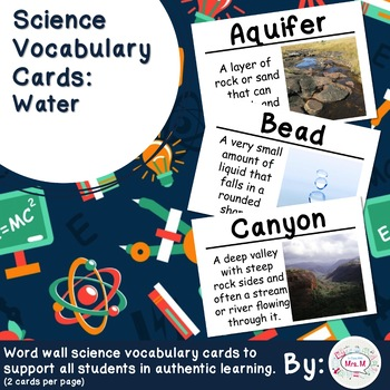 Water Science Vocabulary Cards Large