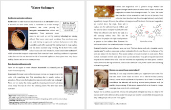 Water Softeners - Science Reading Article - Grades 5-7
