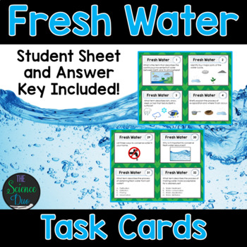 Water Task Cards - Includes Water Cycle, Watersheds, and W