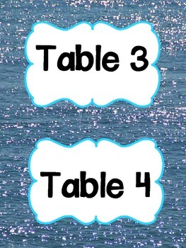 Water Themed Table Signs
