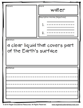 Water Cycle Vocabulary: Tiered Vocabulary Booklets